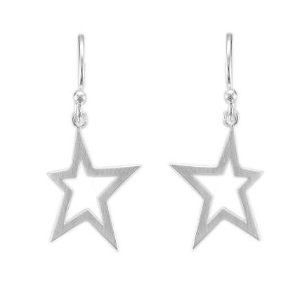Silver Satin Finish Open Abstract Star Wire Drop Earrings - Andrew Scott