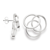 Handmade Sterling Silver Satin/Polished Interlocking Circle Stud Earrings - Andrew Scott