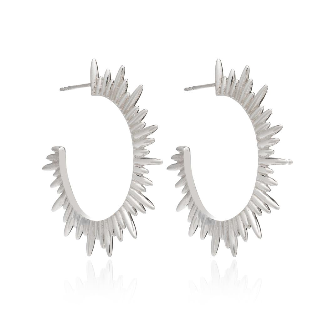 Silver Electric Goddess Hoop Earrings