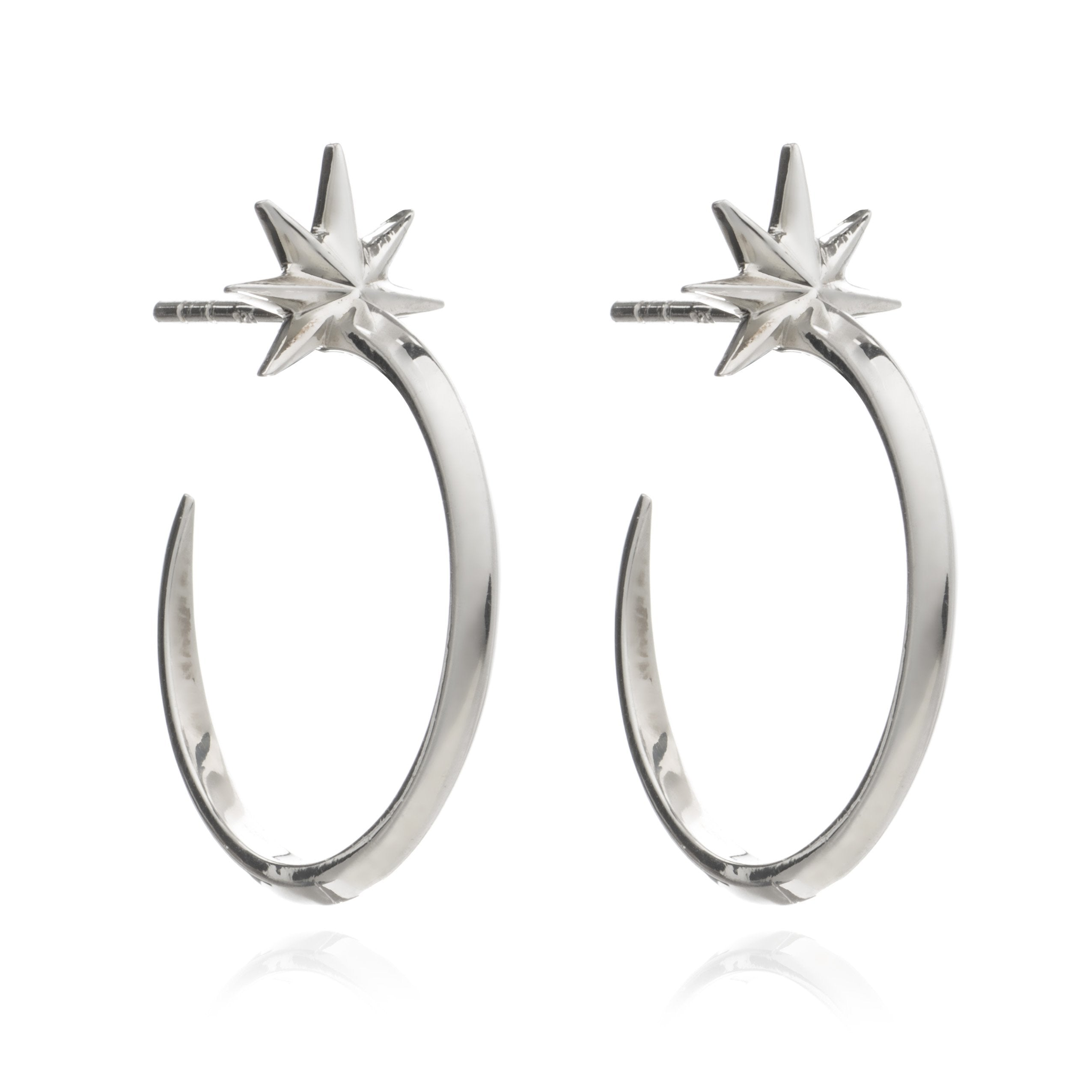 Sterling Silver Shooting Star Hoop Earrings - Andrew Scott