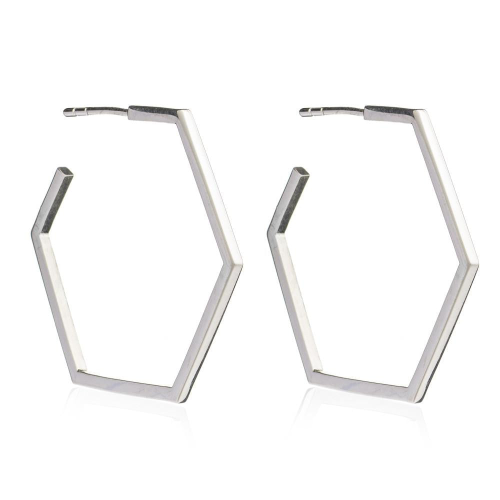 Silver Large Hexagon Hoop Earrings