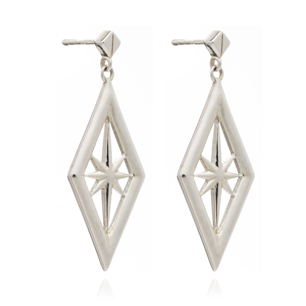 Silver Nova Star Drop Earrings