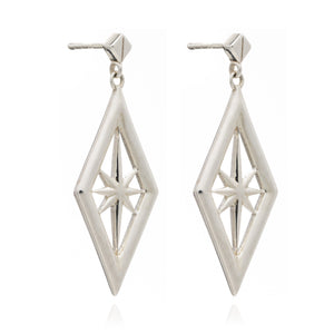 Silver Nova Star Drop Earrings - Andrew Scott
