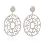 Silver Key of Life Medallion Drop Earrings - Andrew Scott