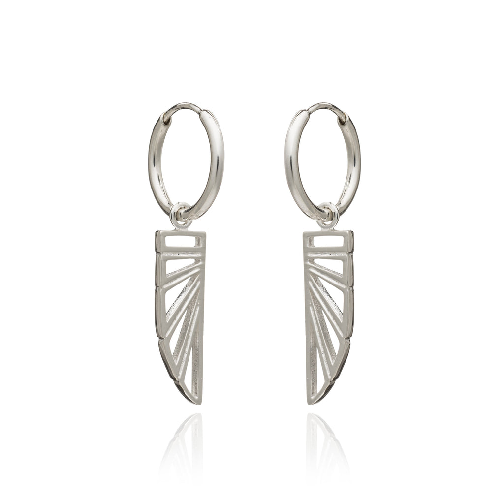 Silver Wings of Freedom Hoop Earrings - Andrew Scott