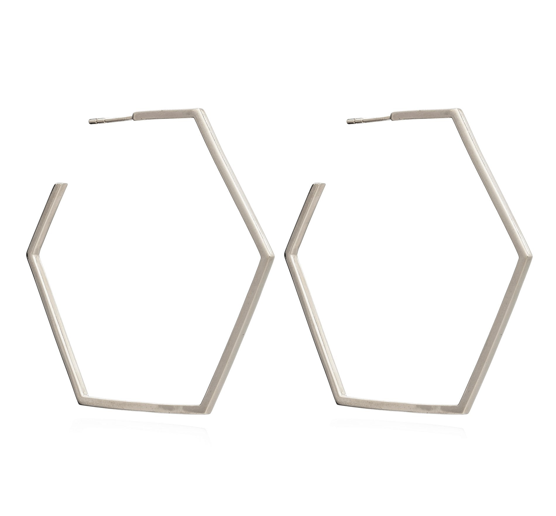 Silver Oversized Hexagon Hoop Earrings - Andrew Scott