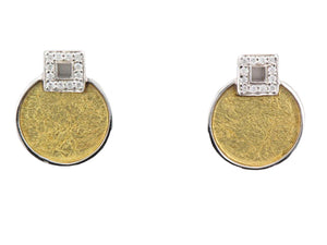 Silver with a 24ct Yellow Gold Sheet Round Earrings with Pave-Set Cubic Zirconia Earrings - Andrew Scott