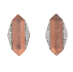 Silver with a Rose Gold Sheet and Cubic Zirconia Pave-Set Earrings