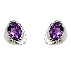 Silver Oval Amethyst Soft Sweep Triangle Earrings