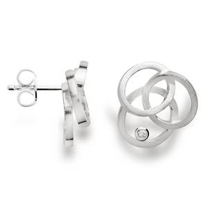 Handmade Silver Diamond Tri-Circle Earrings - Andrew Scott