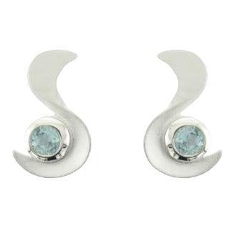 Silver Matt and Polish Finish Round Blue Topaz Swiggle Stud Earrings