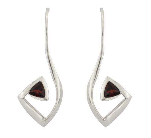 Silver Polish Finish Trillion Garnet Wire Drop Earrings - Andrew Scott