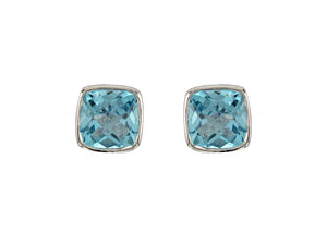 Silver Blue Topaz Stud Earrings