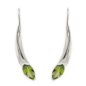 Silver Marquise Peridot Curved Bar Earrings