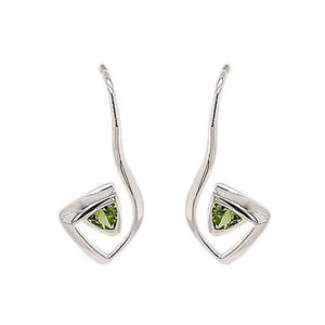 Silver Trillion Peridot Abstract Earrings