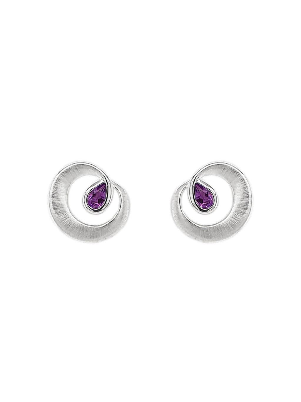 Silver Curl Disc & Pear-Shape Amethyst Earrings