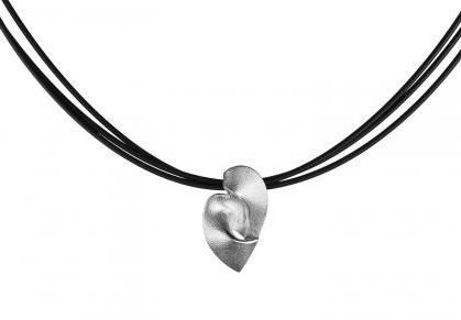 Lapponia Silver Hearts Necklace on a Triple Silicone Wire - Andrew Scott