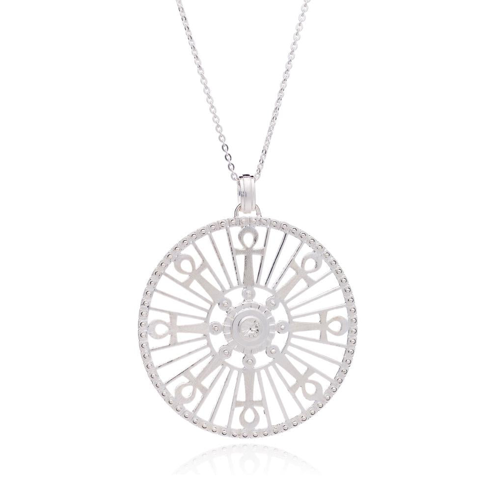 Silver Key of Life Medallion Necklace - Andrew Scott