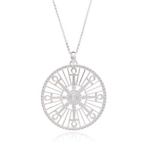 Silver Key of Life Medallion Necklace