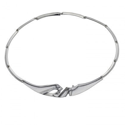 Silver Ibis Satin Textured Necklace by Lapponia of Helsinki