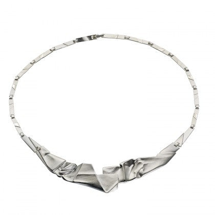 Silver Origami 127 Textured Necklace by Lapponia of Helsinki