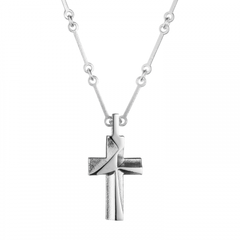 Silver My Hope Textured Cross Necklace by Lapponia of Helsinki