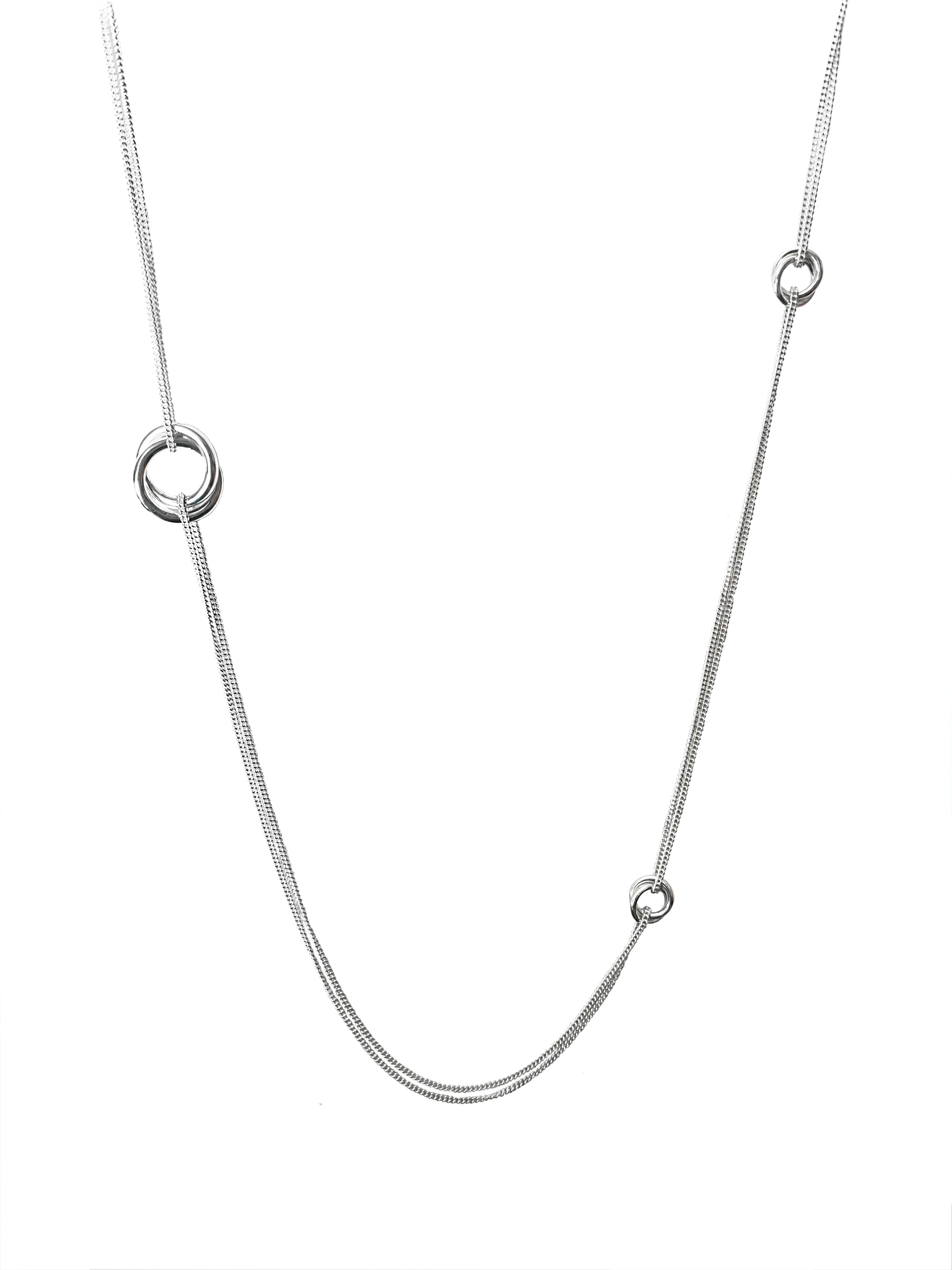 Silver Double Rings Double Chain Long Necklace