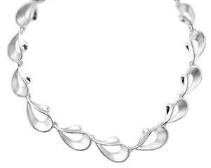 Silver Open Teardrop Graduated Link Necklace