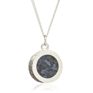 Silver Sapphire Amulet Necklace