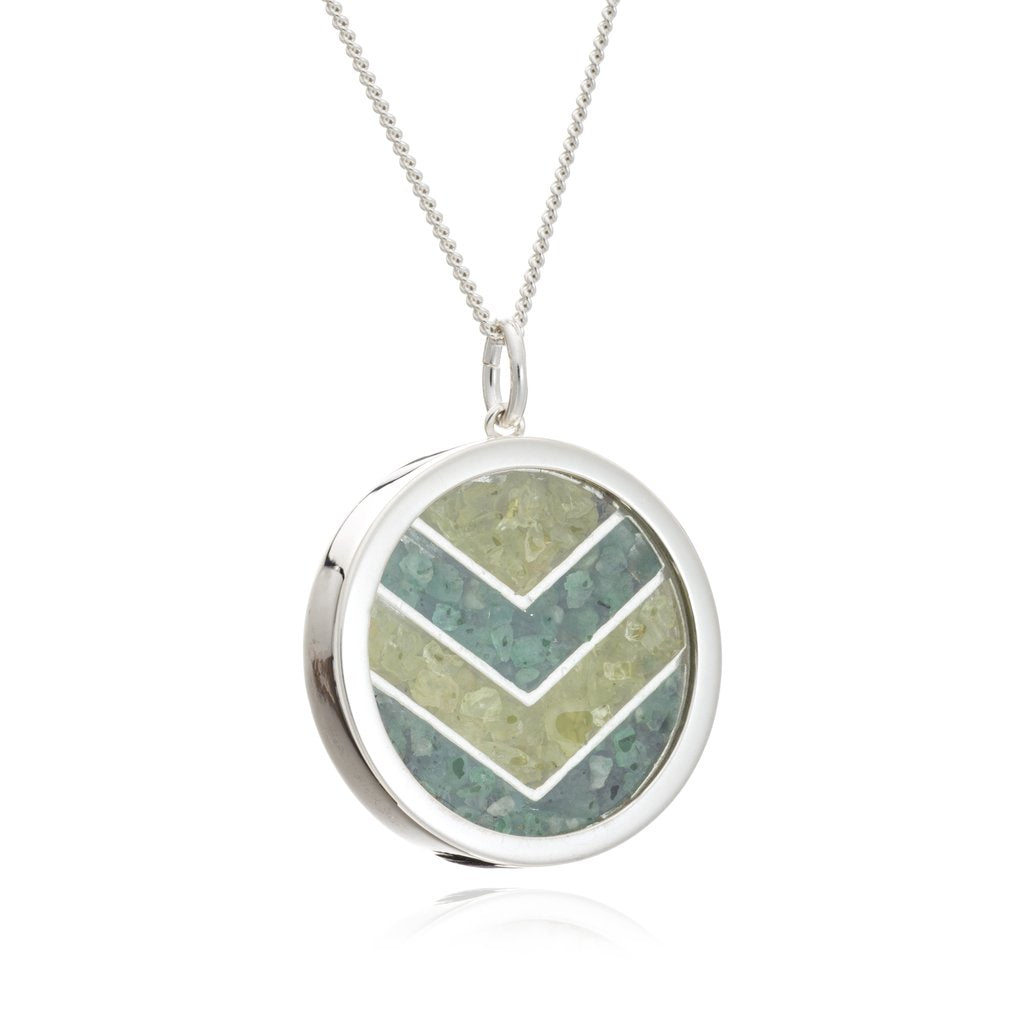 Silver Emerald & Peridot Large Chevron Necklace - Andrew Scott