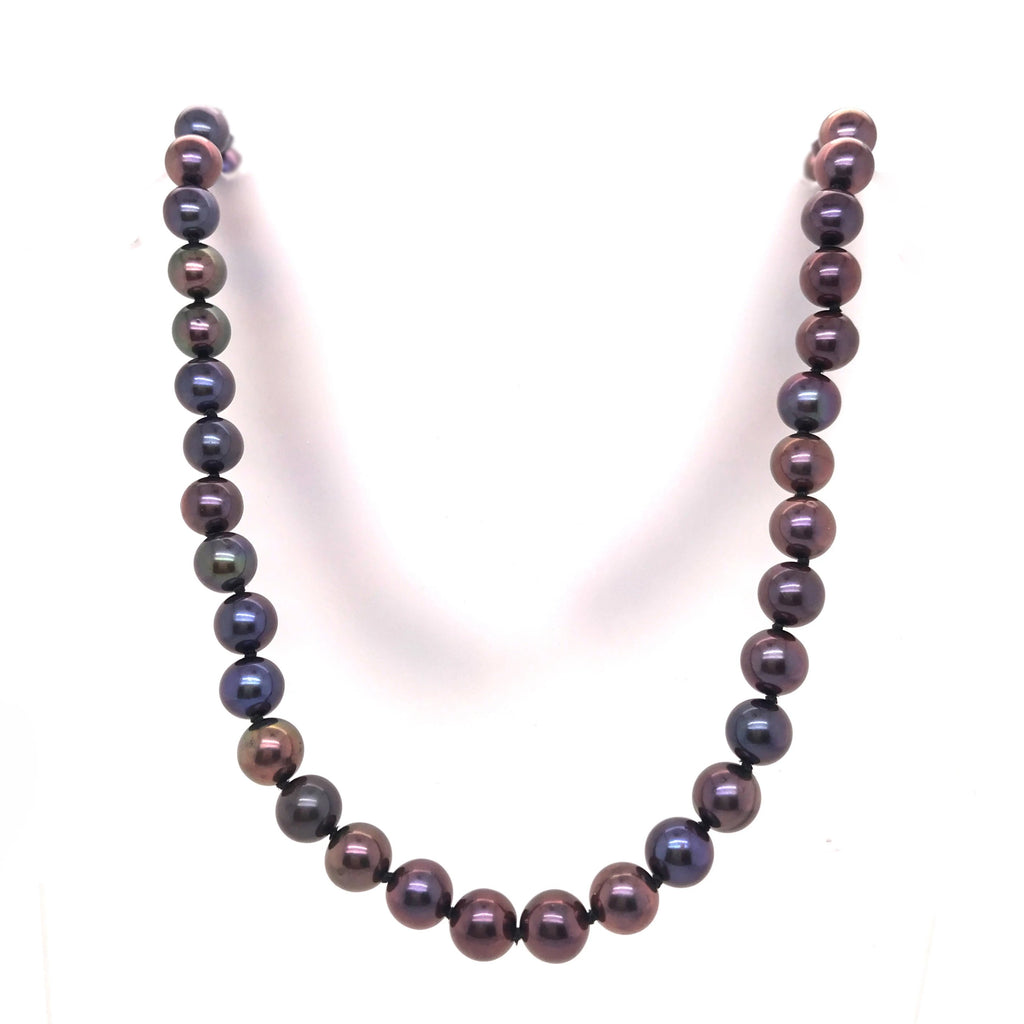 Silver Freshwater Black Pearl Necklace