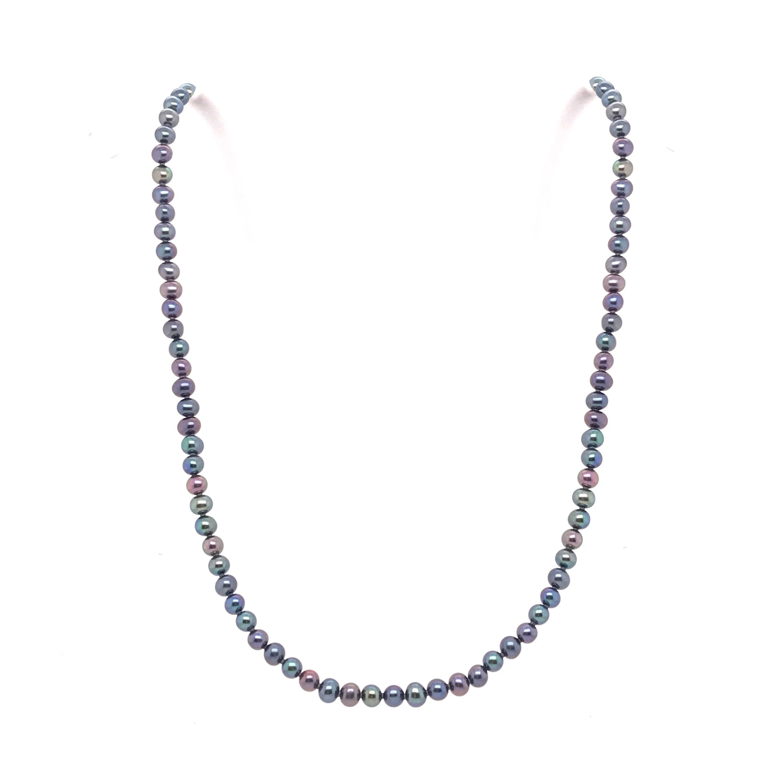 Silver Freshwater Black Pearl Necklace - Andrew Scott