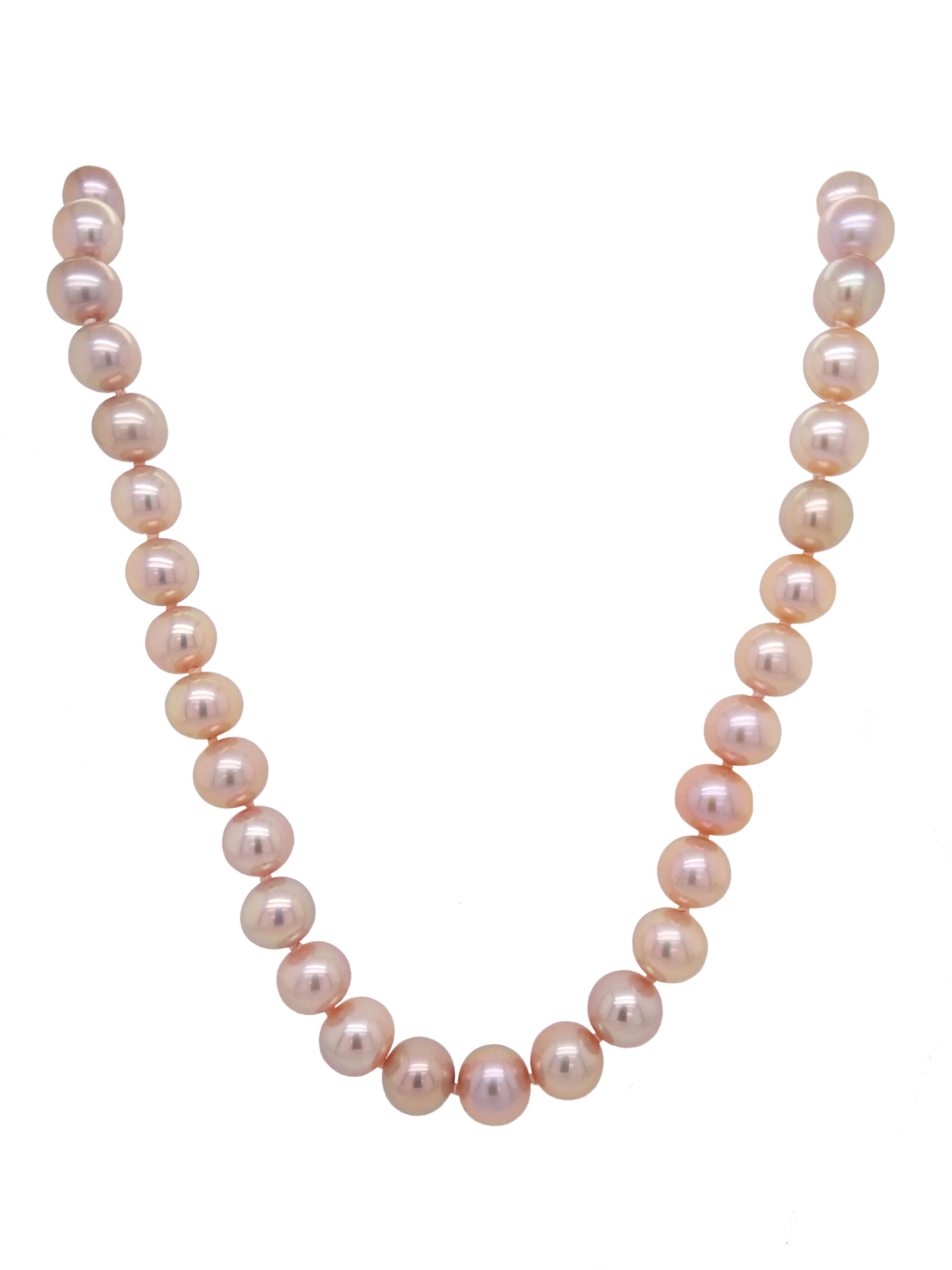 Silver Freshwater Cultured Pink Pearl Necklace