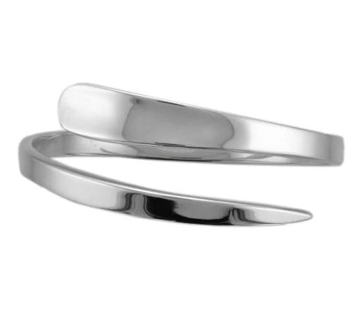 Silver Tapered Open Wrap Around Bangle
