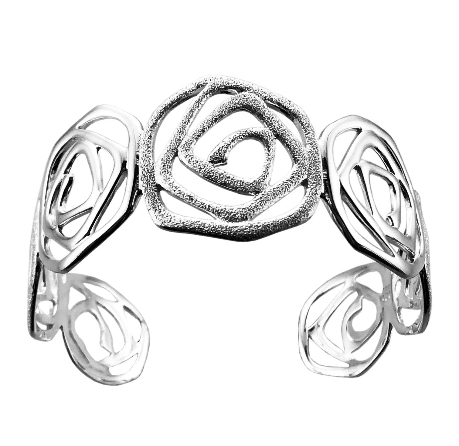 Silver Open Rose Torque Bangle