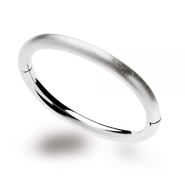 Silver Rounded Profile Diamond Dust Hinged Bangle