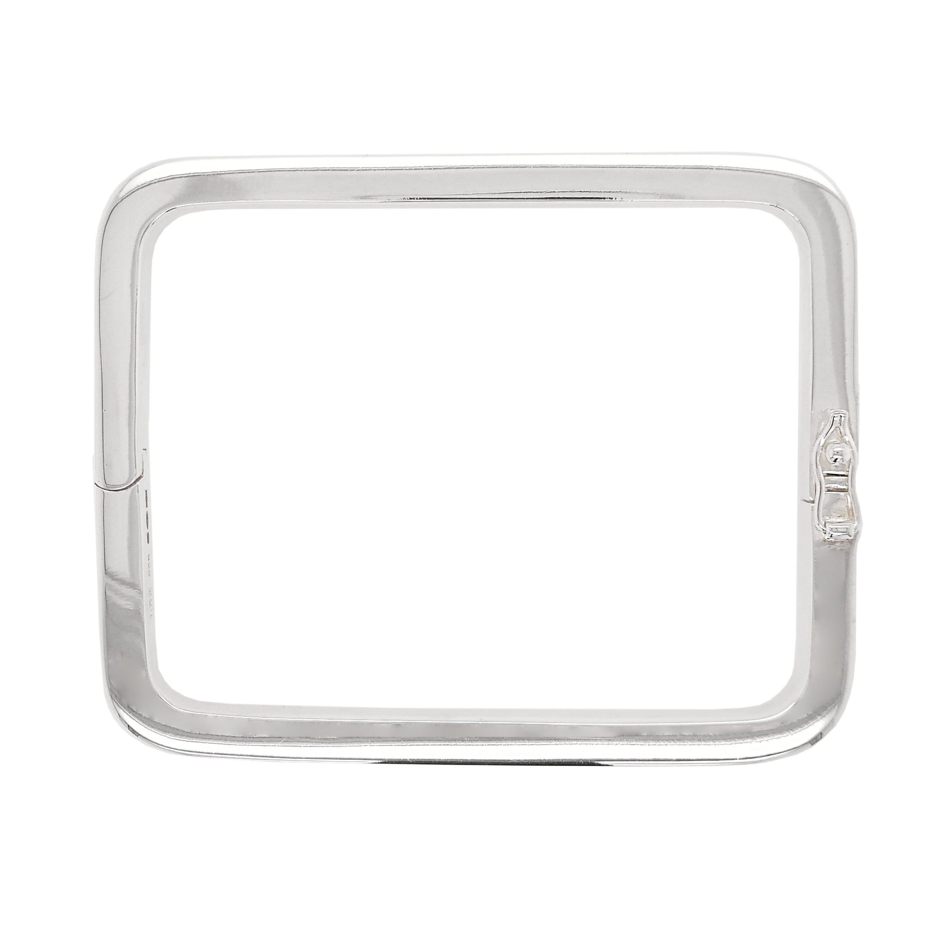 Silver Solid Square Profile Hinged Bangle