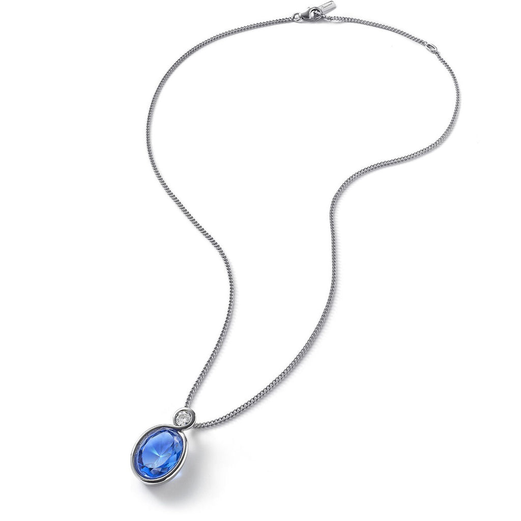 Baccarat Silver Croise Blue Crystal Pendant & Chain