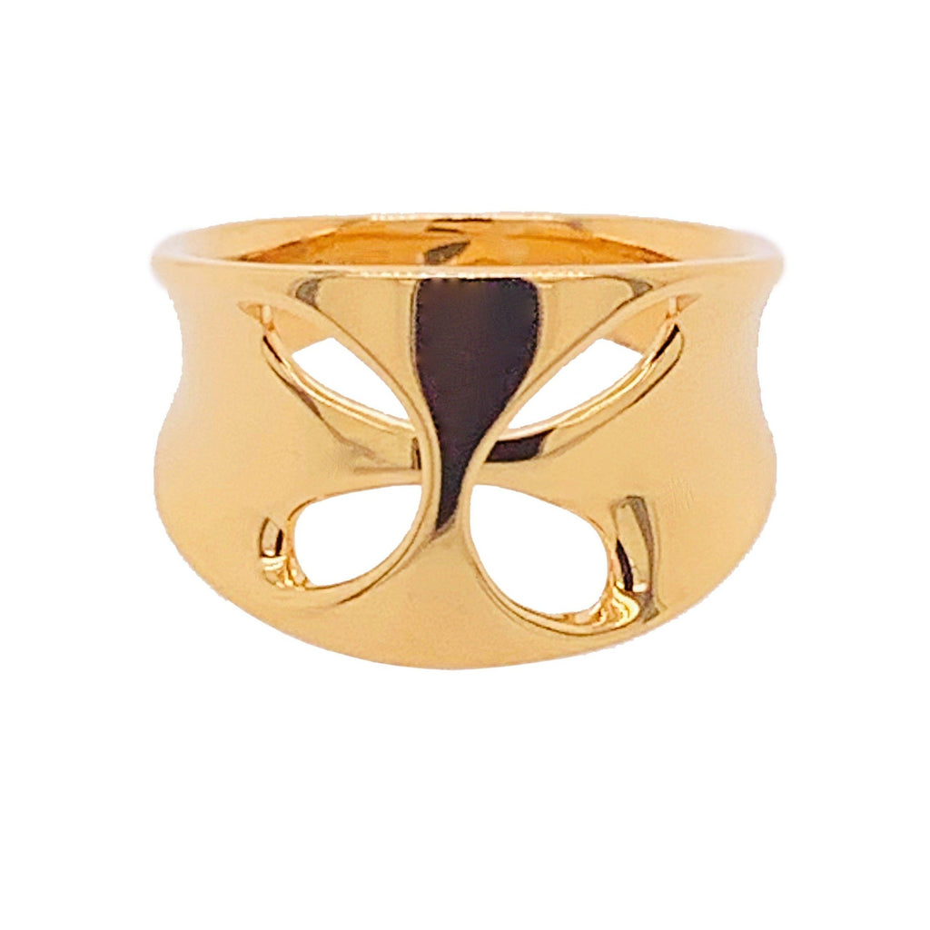 Silver Yellow Gold Plate Open Oval Abstract Wide Ring
