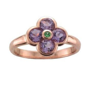 Silver Rose Gold Plated Amethyst & Tsavorite Flower Ring