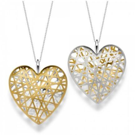 Silver & Yellow Gold Plated Large Open Lattice Heart Necklace