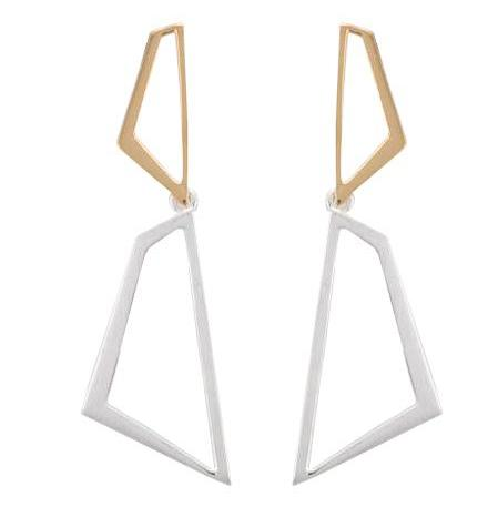 Silver Satin Finish Drop and Silver Yellow Gold Plate Polish Stud Open Abstract Drop Earrings