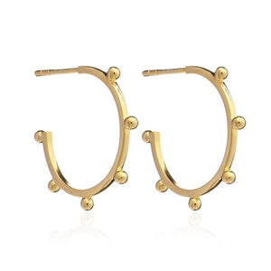Silver Gold Plate Medium Punk Hoop Earrings - Andrew Scott
