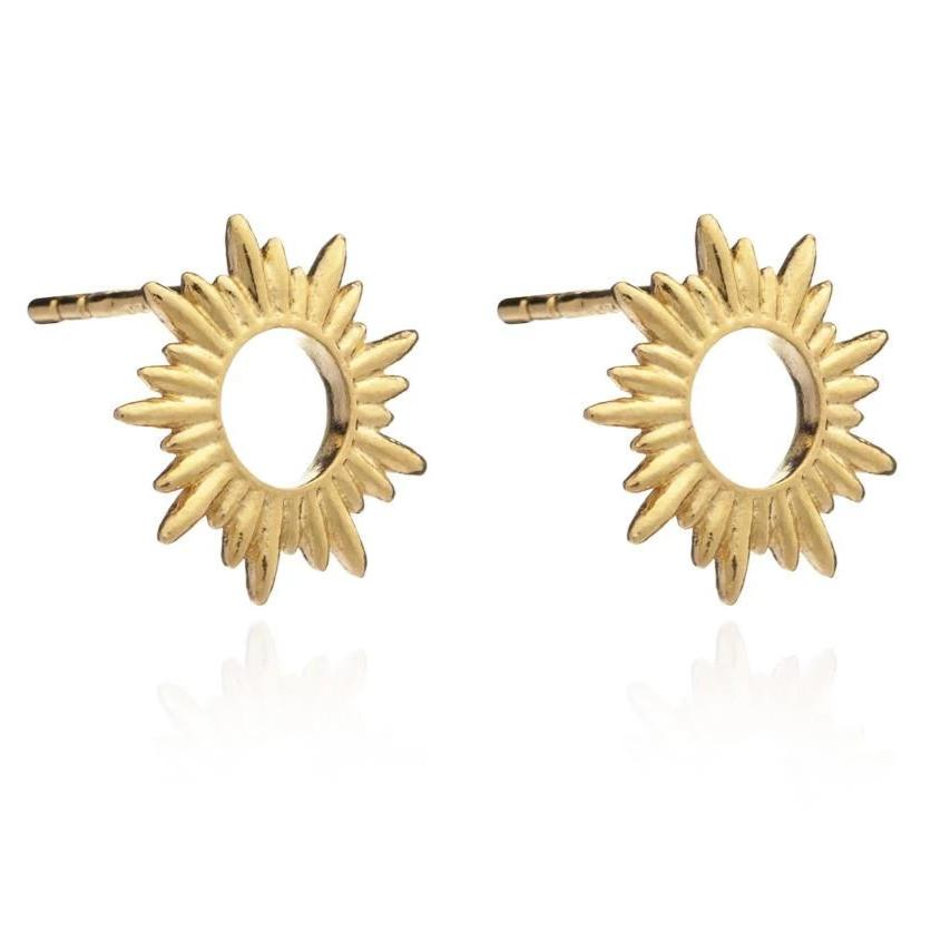 Silver Gold Plate Sunray Stud Earrings
