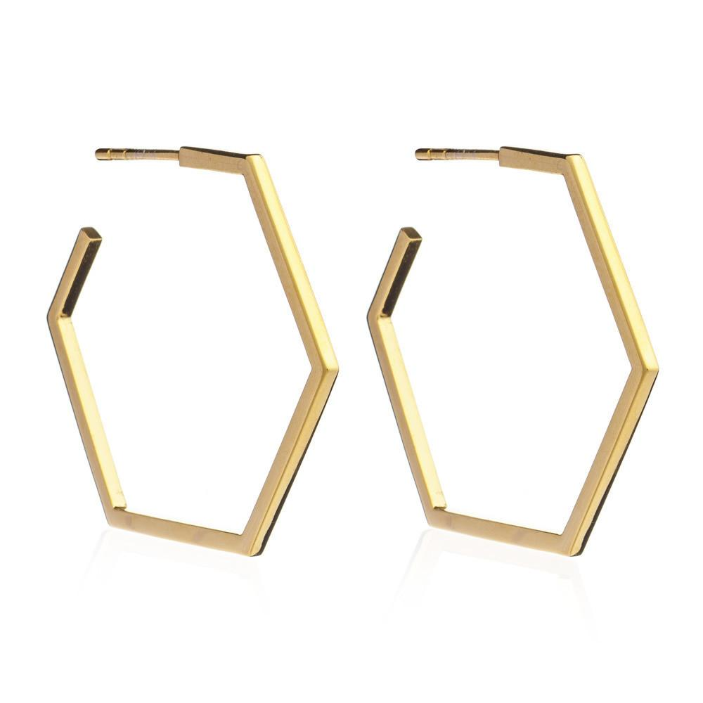 Silver Gold Plate Large Hexagon Hoop Earrings - Andrew Scott