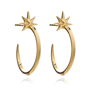 34bc0d04e87c0 Silver Gold Plated Shooting Star Hoop Earrings