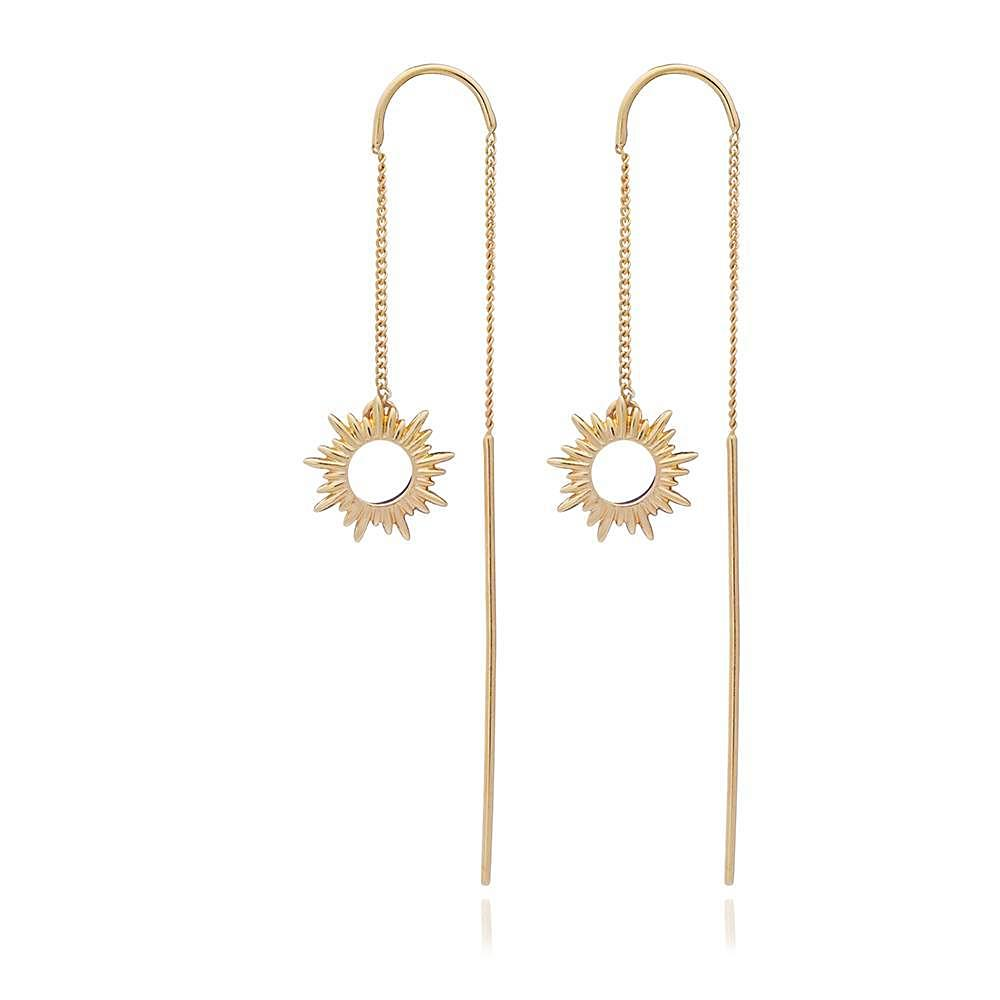 Silver Gold Plated Sunray Threader Earrings