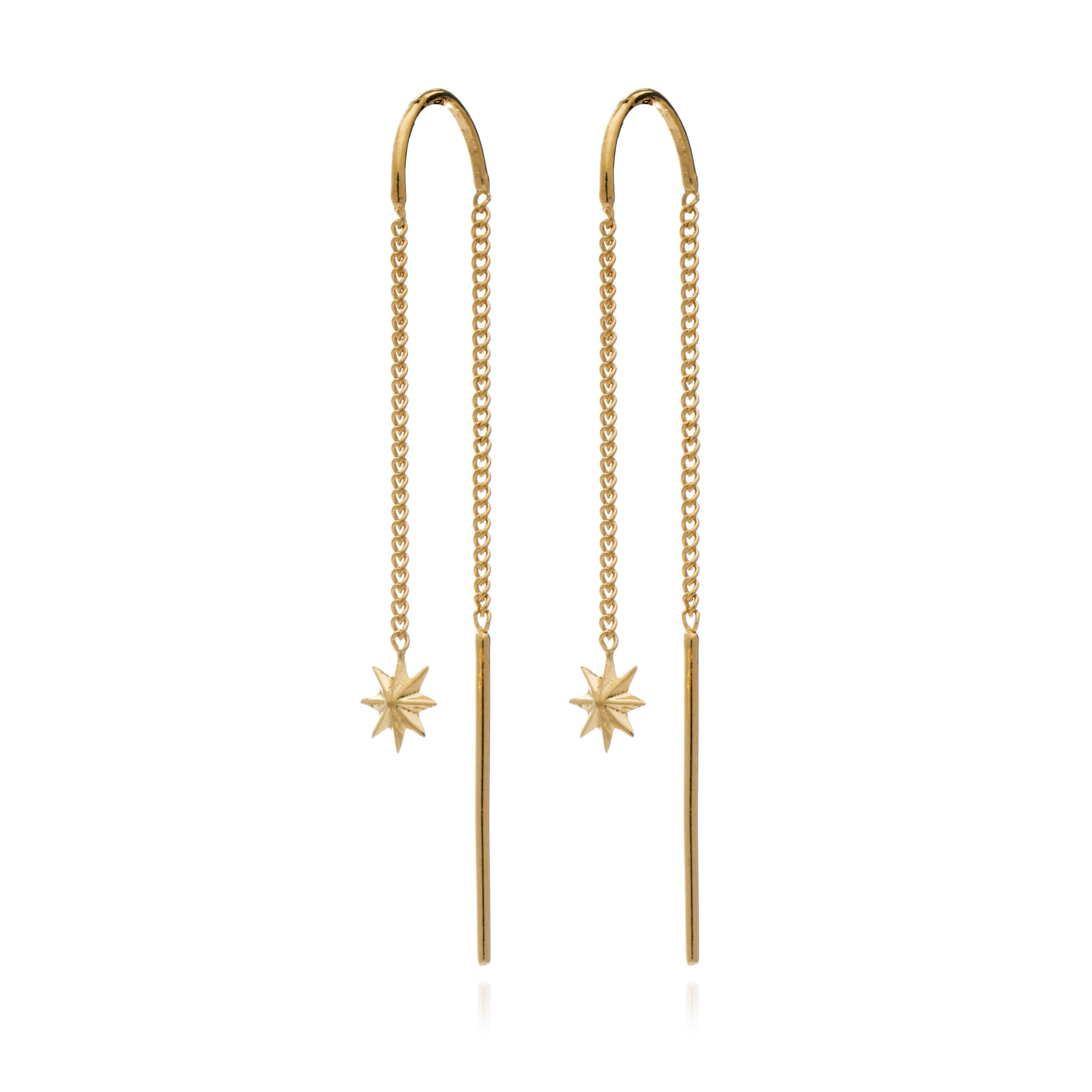 Silver Gold Plated Rockstar Threader Earrings