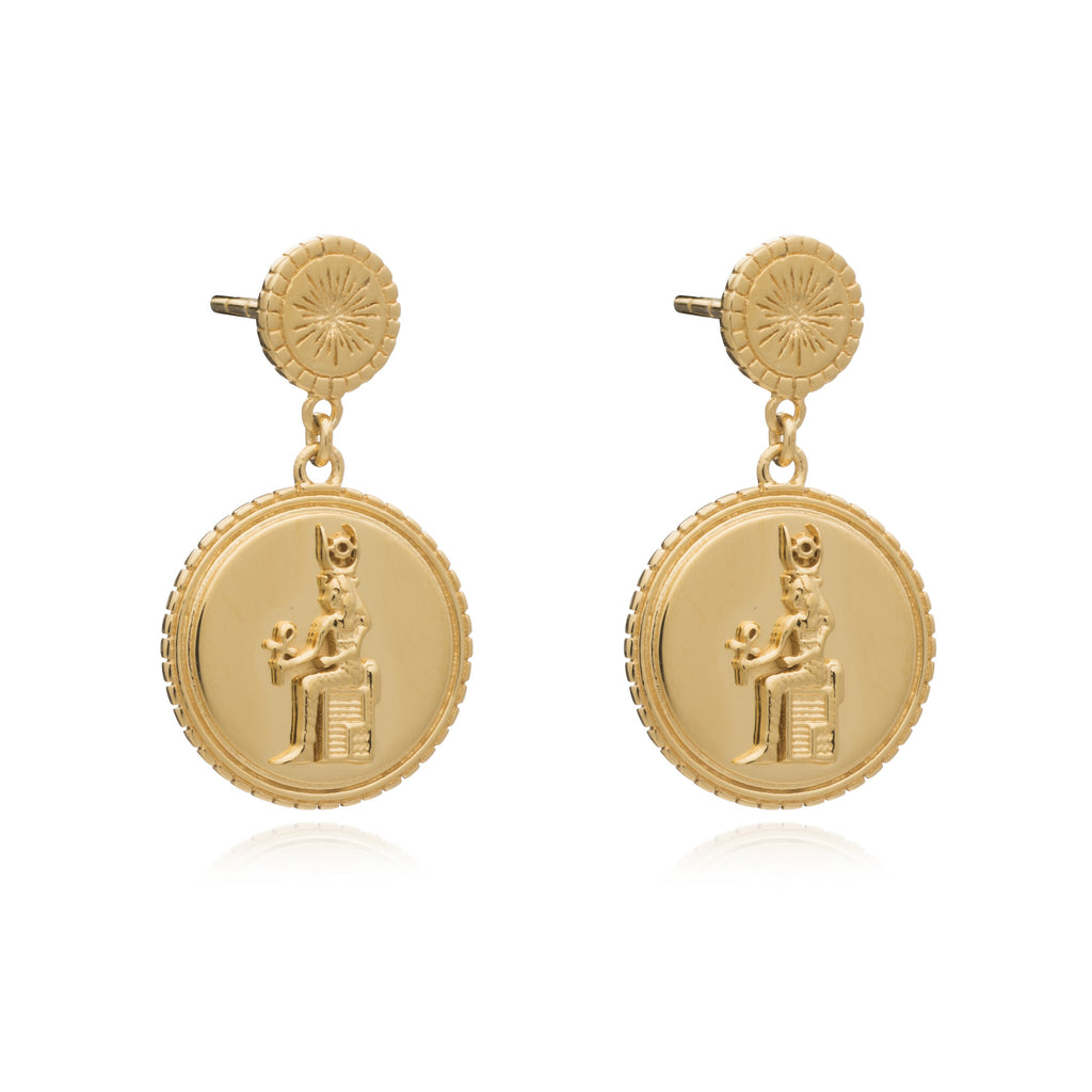 Silver Gold Plate Queen of Revelry Coin Drop Earrings