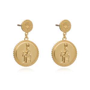Silver Gold Plate Queen of Revelry Coin Drop Earrings - Andrew Scott